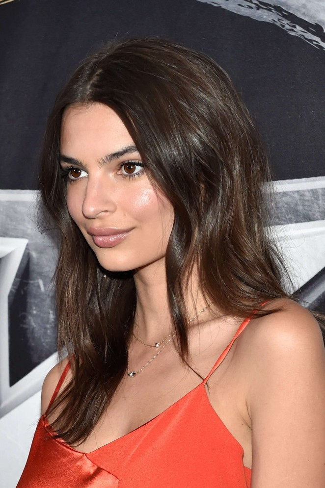 Emily Ratajkowski in a slinky slip dress at the BKB 2 Big Knockout Event in Las Vegas