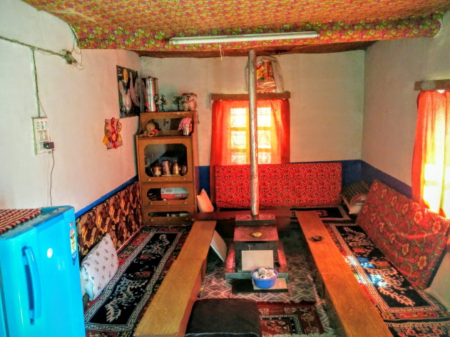 Inside a traditional local home at Dhankar, Spiti Valley