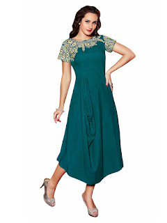 Sea Green Linen Party Wear Kurti