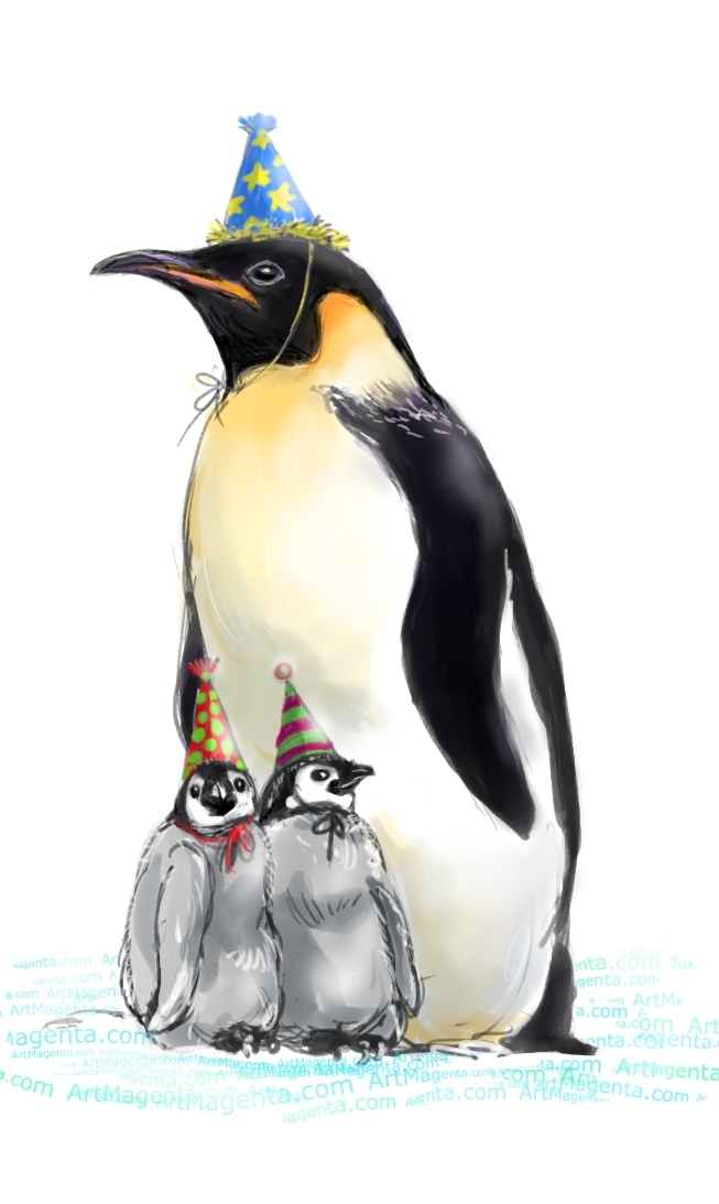 Family of partying penguins
