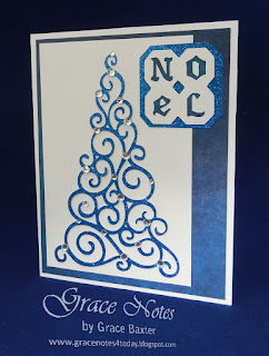blue sparkle tree card, designed by Grace Baxter