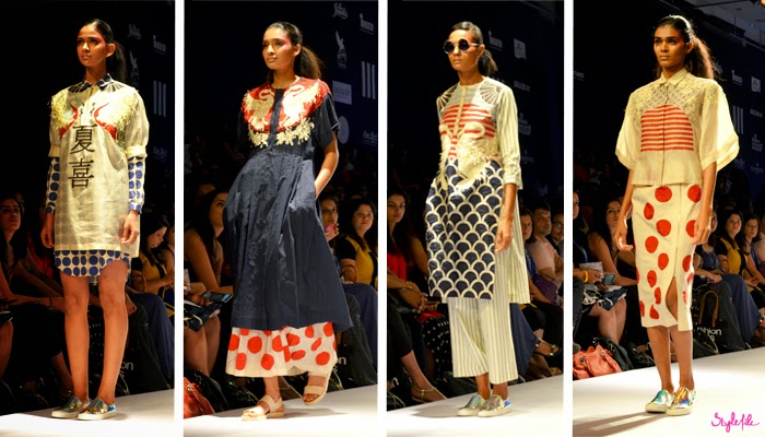 Models wear oriental inspired elements with print mixing garments for Ikai by Ragini Ahuja on runway at Lakme Fashion Week Summer Resort 2015
