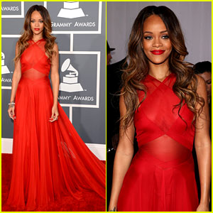 Rihanna has beautiful ombre locks styled in big loose waves giving a fabulous high shine finish
