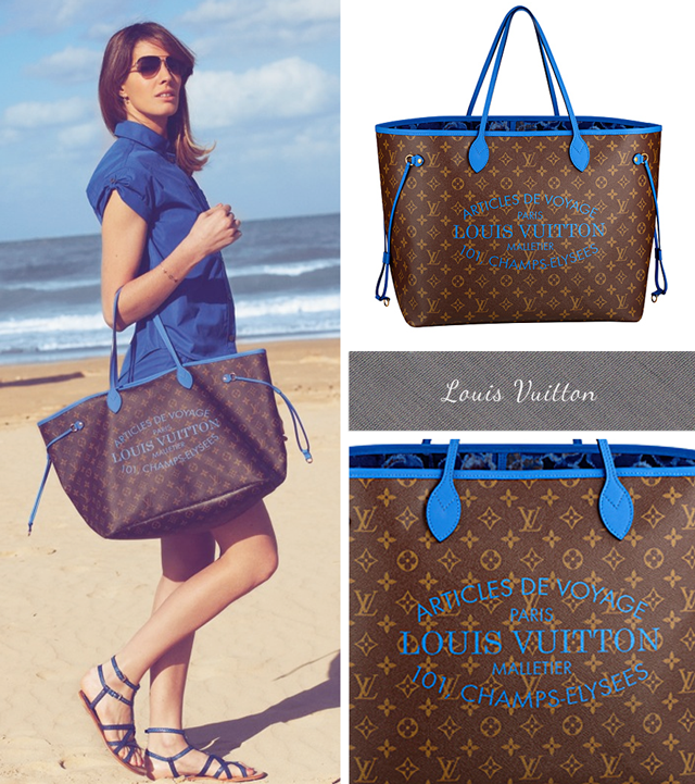 Louis Vuitton Monogram Neverfull with Blue leather handles, blue logo and floral lining Summer 2013 Bags