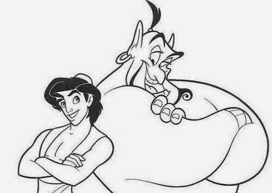 Cuentos infantiles: Aladdin y Jasmine para colorear. Dibujos para ...