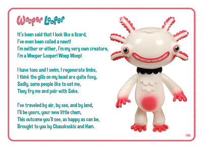 San Diego Comic-Con 2012 Exclusive Wooper Looper Painted White Vinyl Figure  Info Cardby Gary Ham
