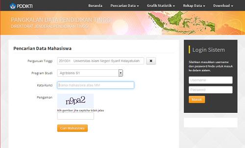 Halaman Pencarian data Mahasiswa di Web Forlap Dikti