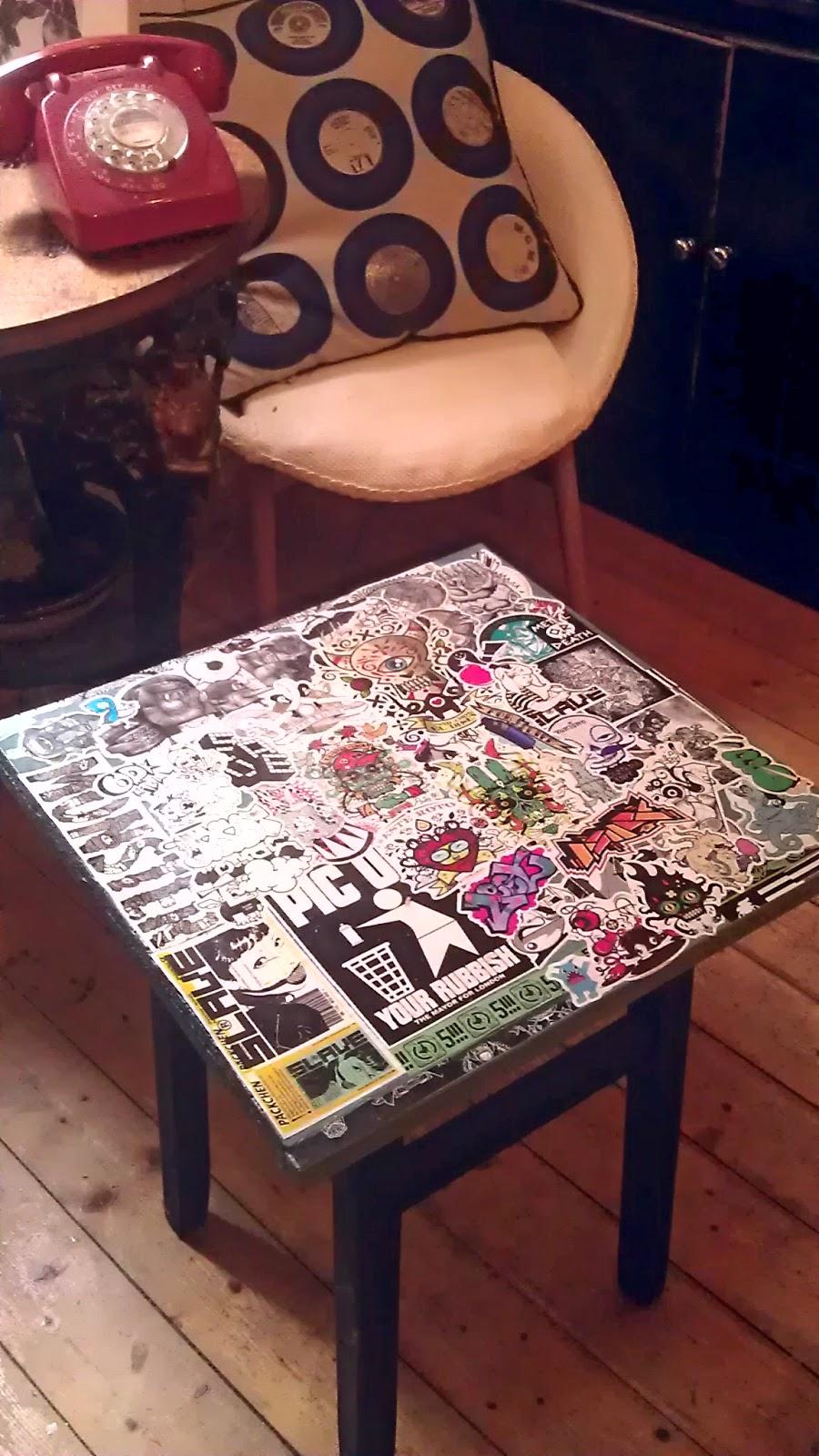 Brassic Toy Monkey Graffiti Stickerbomb Table