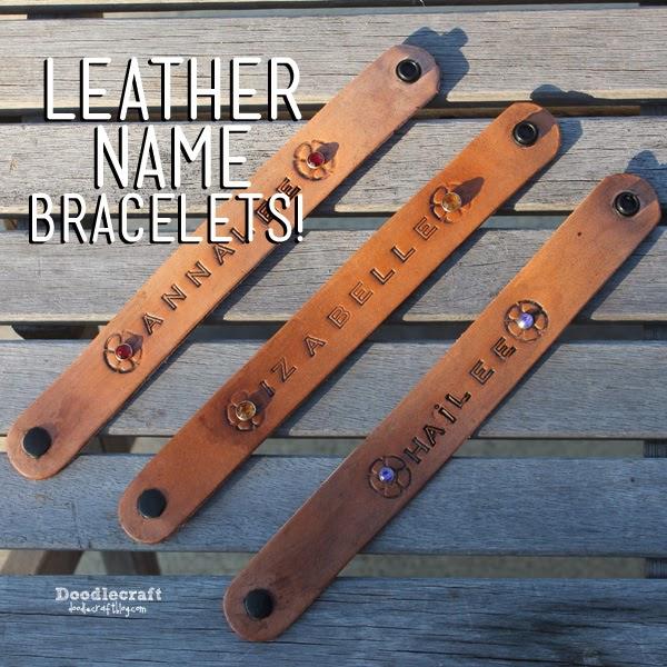 http://www.doodlecraftblog.com/2014/12/stamped-leather-name-bracelets.html