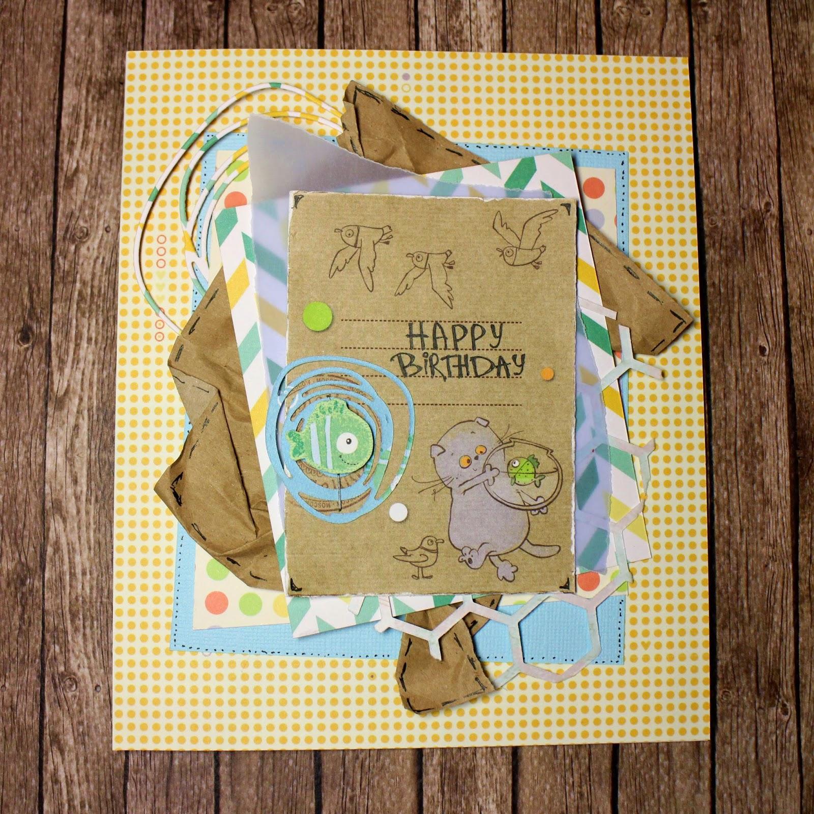Детская открытка в американском стиле на день рождения скрапбукинг Басик scrapbooking birthday card in american style handmade by hamster-sensey