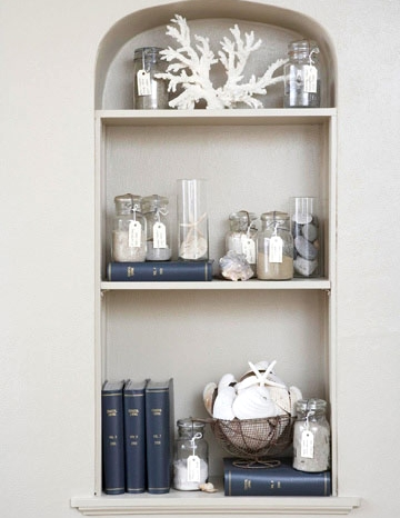 glass jars on shelf