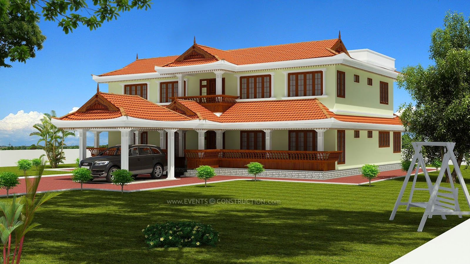Evens construction pvt ltd traditional style sloped roof house 4000 - Houses atticsquare meters ...