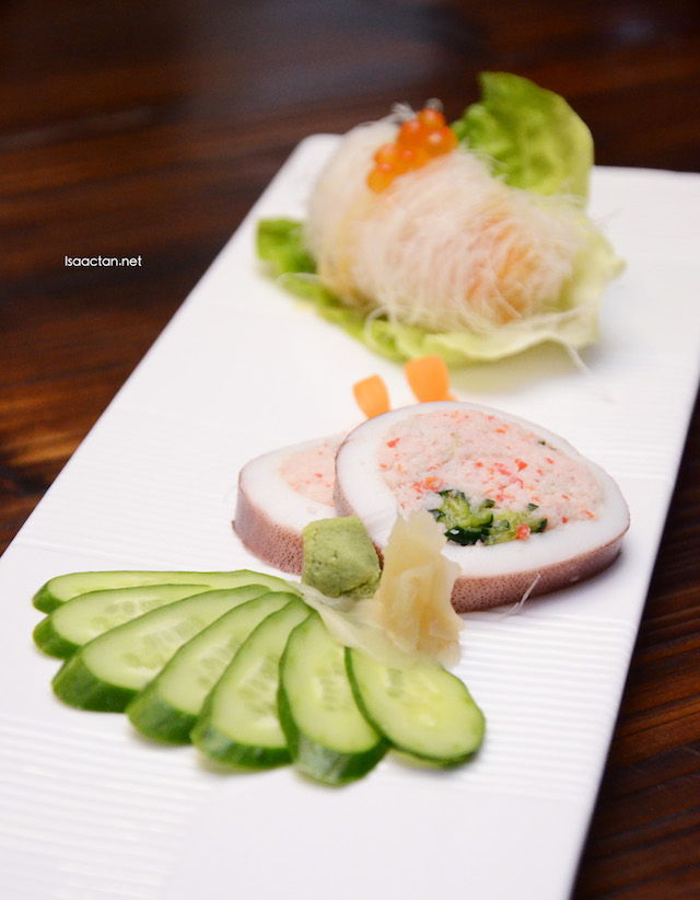 Squid stuffed with preserved cucumber and Ikakyuri