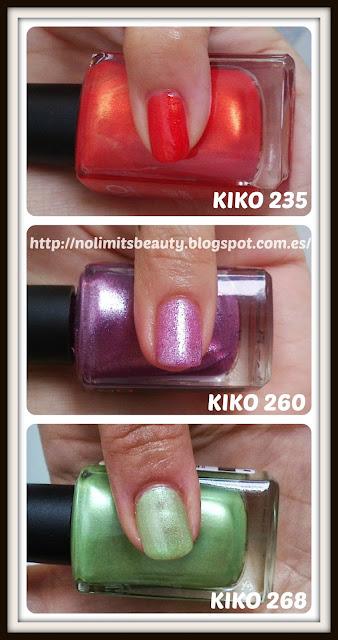 Kiko Nail Lacquer (235, 260 y 268) - swatches