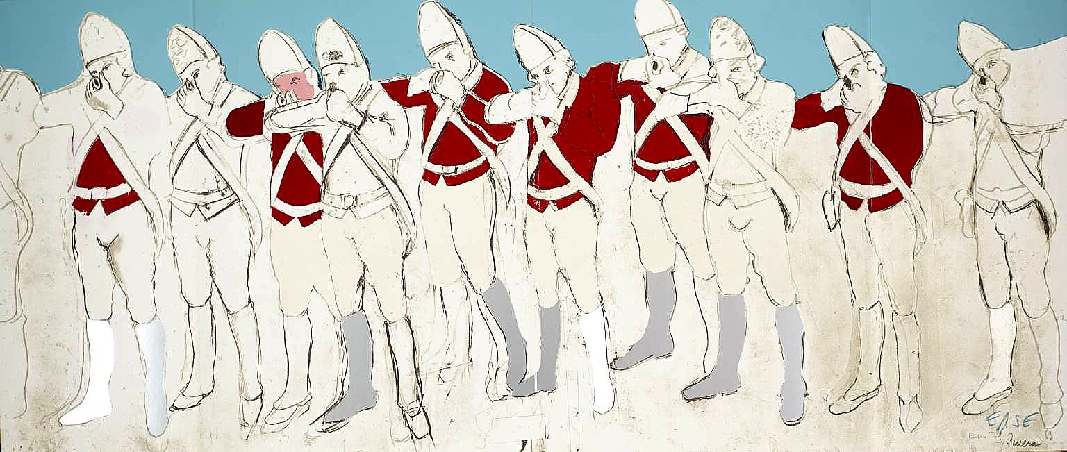 art now and then larry rivers red coats fold out from boston massacre 1970 larry rivers