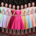 Eight-Color Vintage Retro Satin Flare Party Midi/Maxi Dress