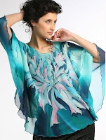 purple heart tropical silk blouse