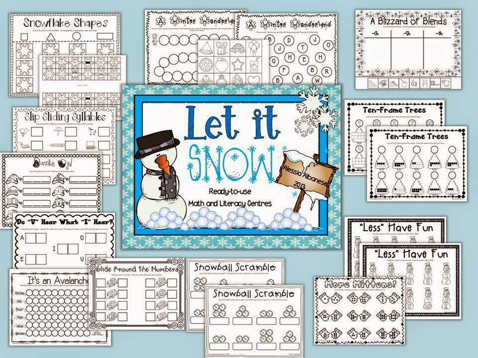http://www.teacherspayteachers.com/Product/Let-It-Snow-Ready-To-Use-Math-and-Literacy-Centres-1007513