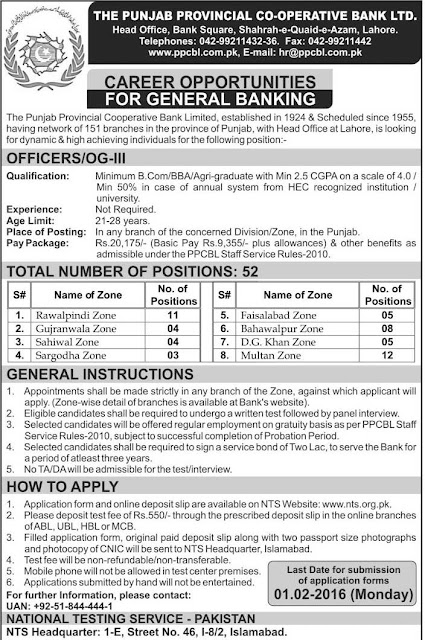 OG-III Jobs in The Punjab Provincial Co-Operative Bank