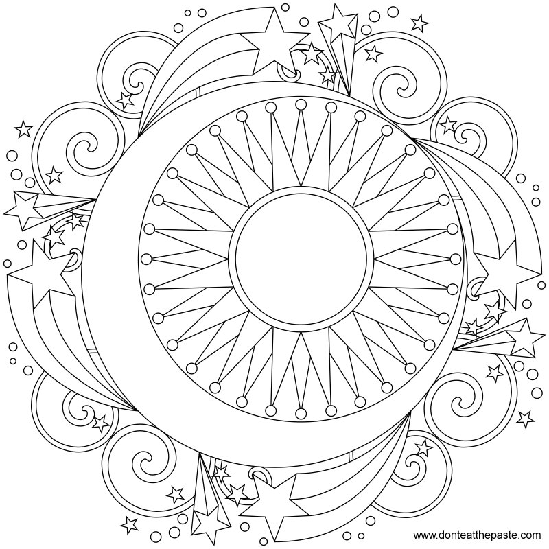 Don 39 t eat the paste star mandala to color for Printable mandala coloring pages for adults