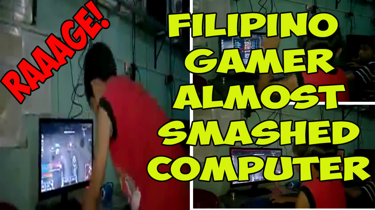 Filipino DOTA 2 LOL Player smashed computer after losing