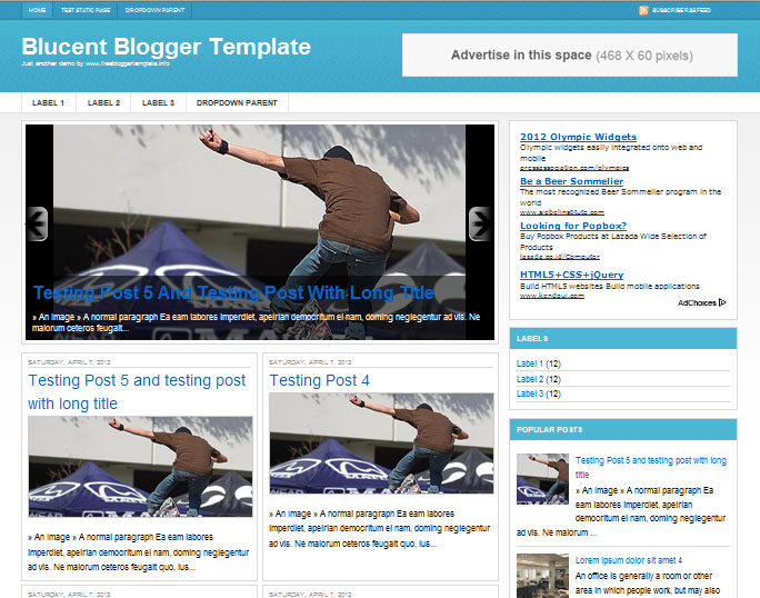 Blucent Blogger Template