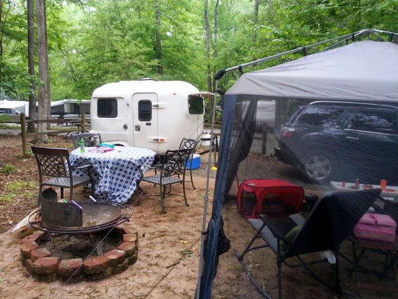 Camping at KOA in Townsend, TN with our Fiberglass Uhaul Camper