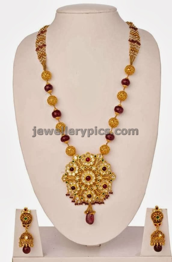 lalitha jewellers ruby gold beads single line mala