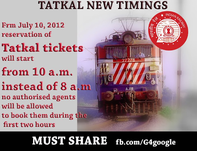 Tatkal New Timings Image-Takkal New Booking Time