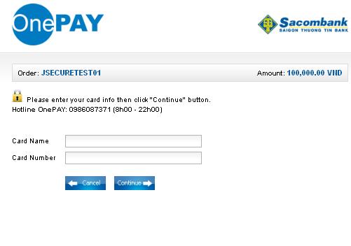 OnePay Account Screen