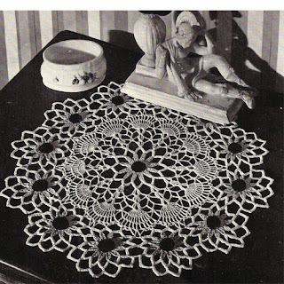 Flower Doily Crochet Pattern with Black Eyed Susan Motif and Shells