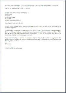 credit limit letter to customer
