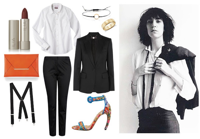 Patti Smith style black trousers and white button down long sleeved shirt