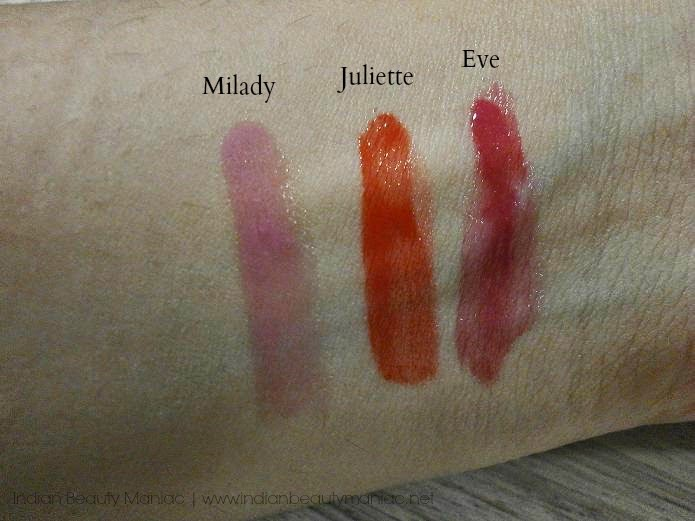 L'Oréal Paris Shine Caresse Light Weight Lip Color in Milady, Eve and Juliette Swatch review and LOTD