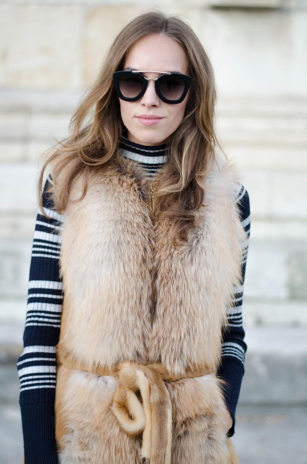 kristjaana mere prada sunglasses fox fur vest fall outfit inspo 70s