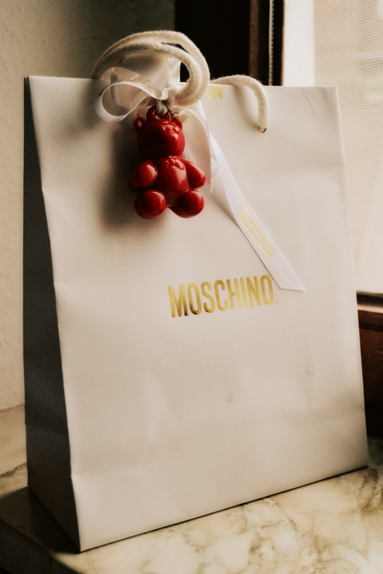 bag moschino bear brand label