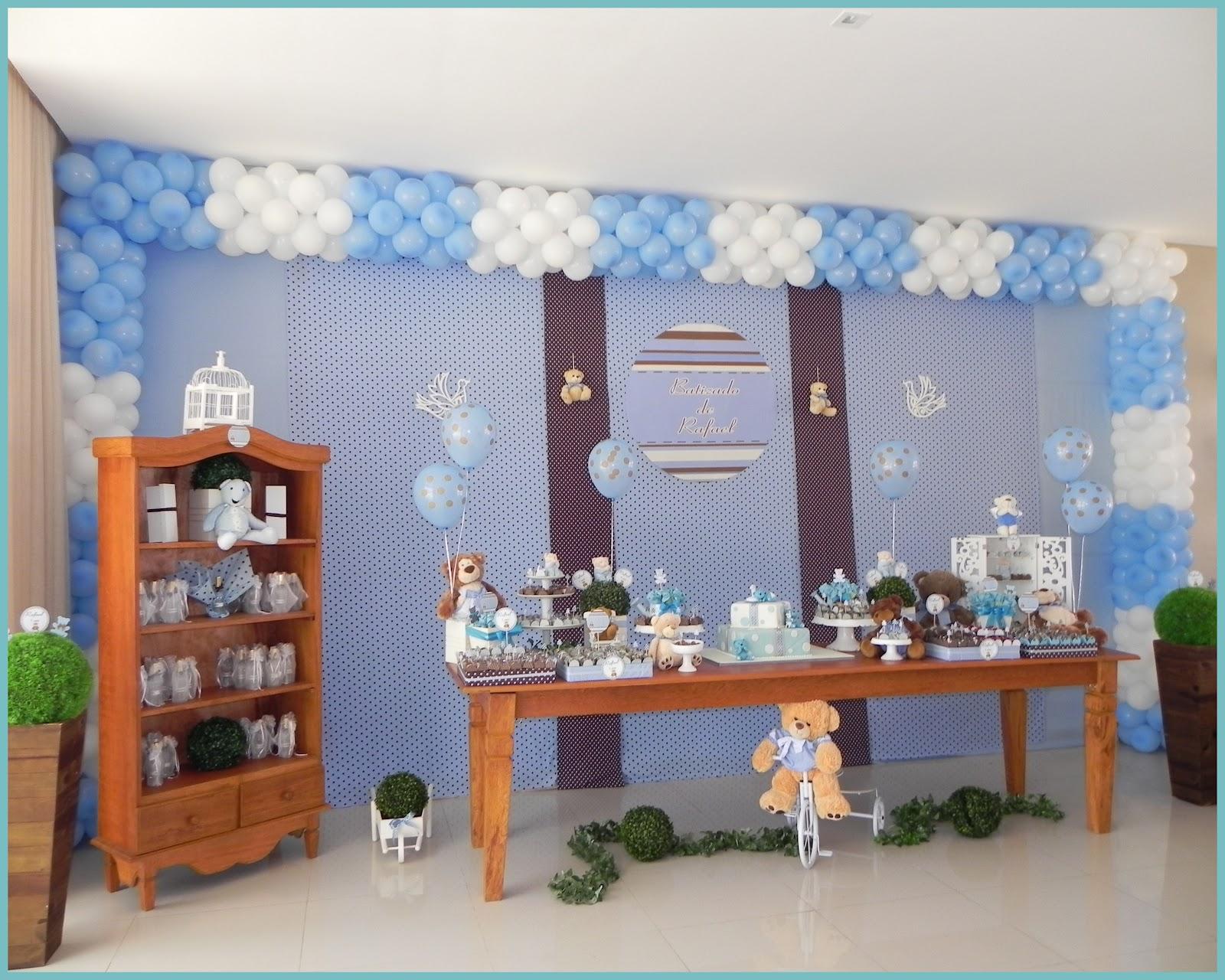 decoracao festa urso azul e marrom:mamãe de Rafael optou por realizar seu batizado juntamente com seu