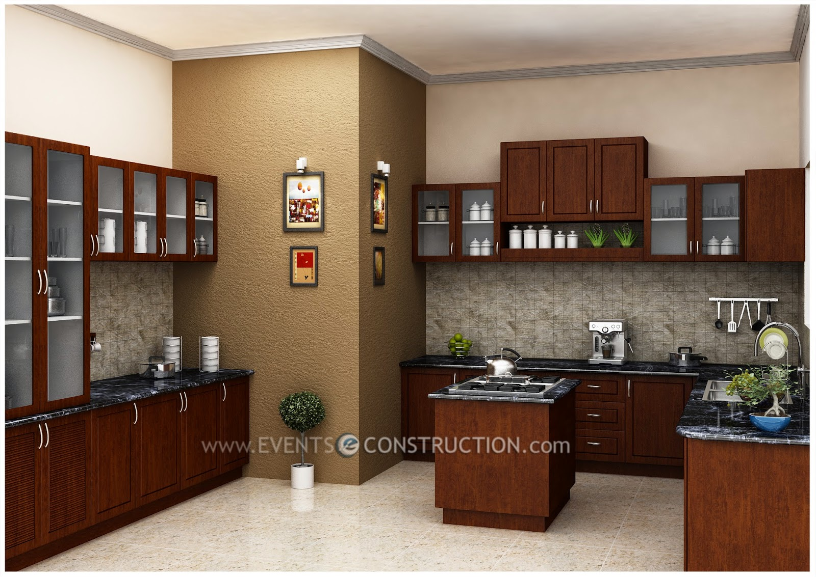 Evens Construction Pvt Ltd Modern Kitchen Interior For Kerala Home