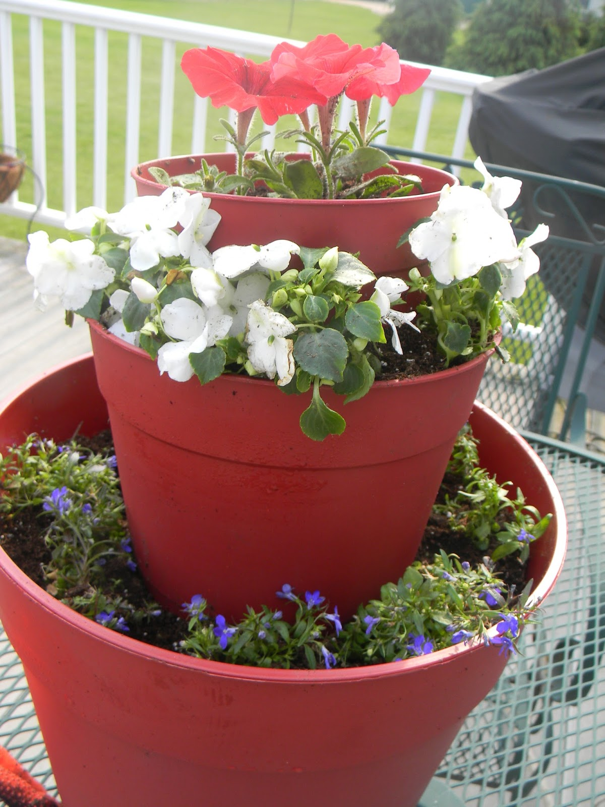 Tiered Planter, Red, White and Blue Flowers, Decorating for the 4th of July