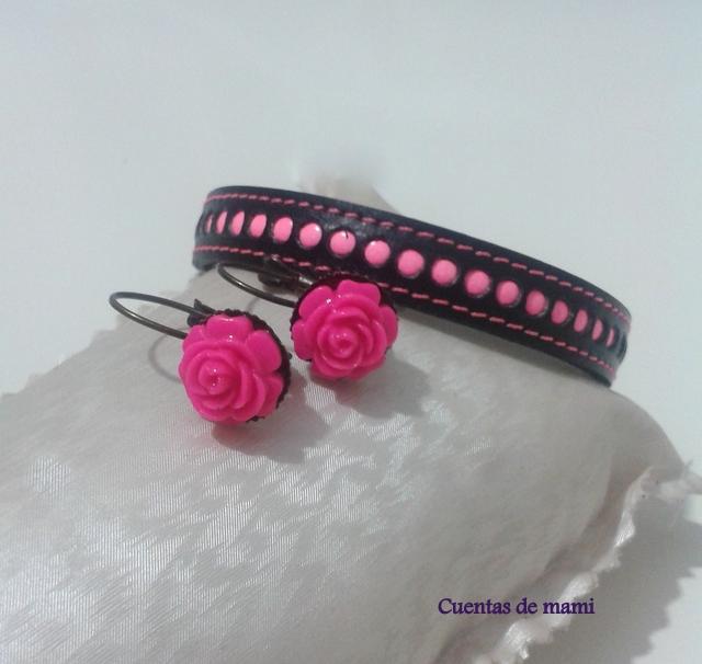 Pulseras flúor rosa