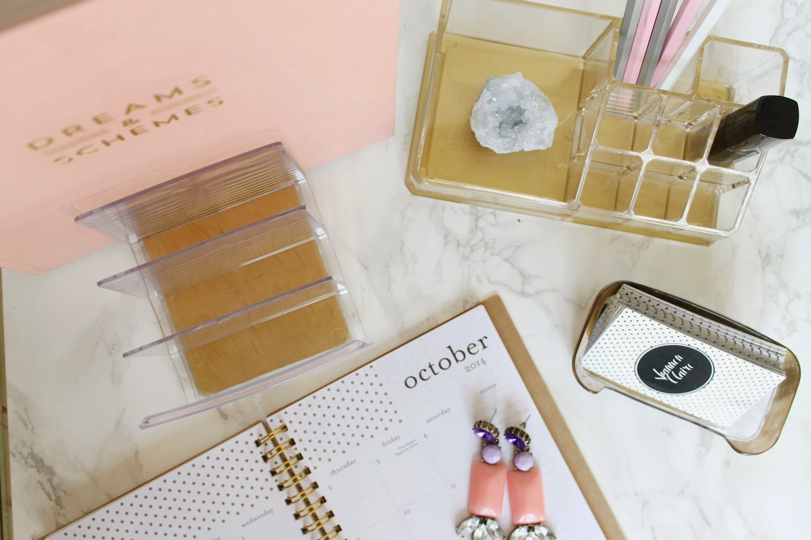 Shannon claire diy files gold and lucite desk accessories for Diy office accessories