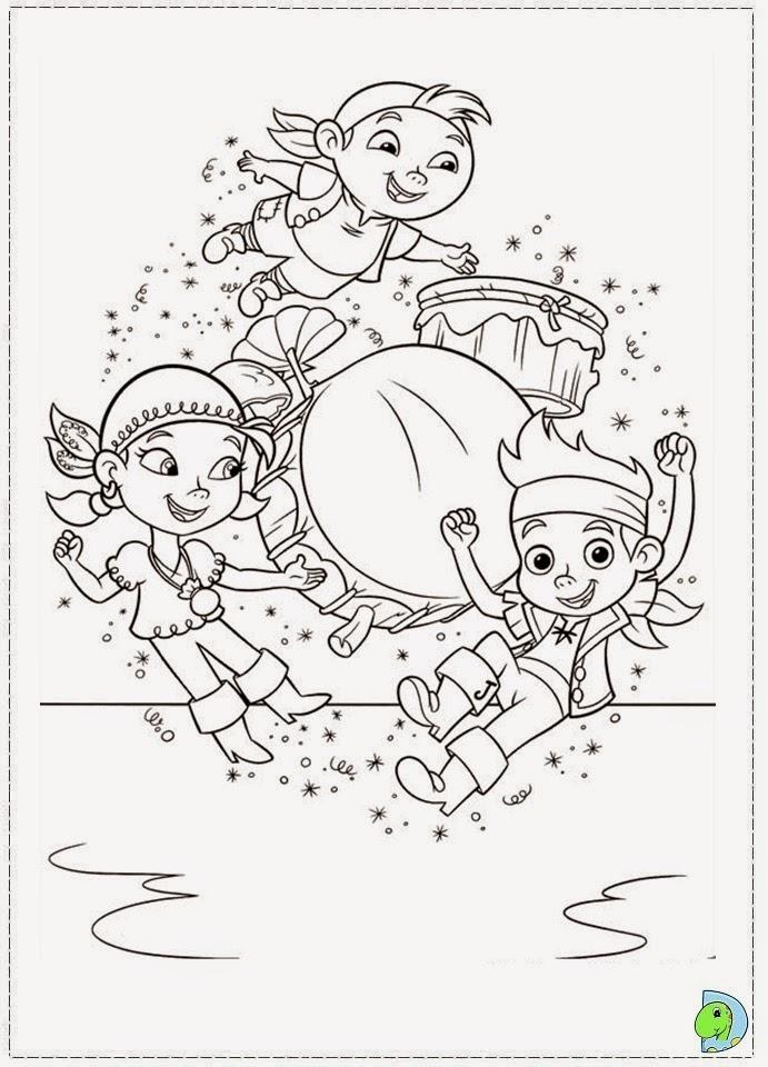 desenhos de jake e os piratas na terra do nunca para colorir