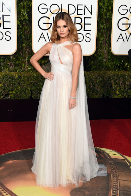 Lily James Marchesa Golden Globes 2016