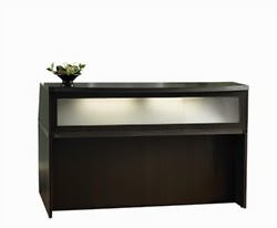 Small Mocha Reception Desk with Glass Accents
