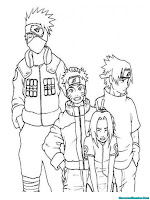Mewarnai Gambar Kakashi Dan Team 7 Naruto Shippuden
