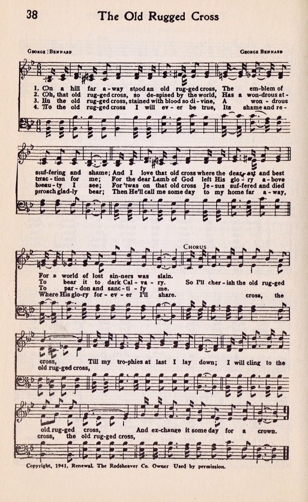 Printable Hymn Book Page - The Old Rugged Cross from http://knickoftimeinteriors.blogspot.com/