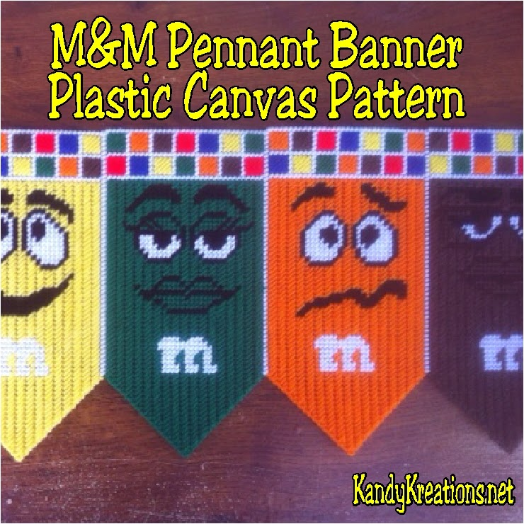 M&M Pennant Banner Plastic Canvas Pattern