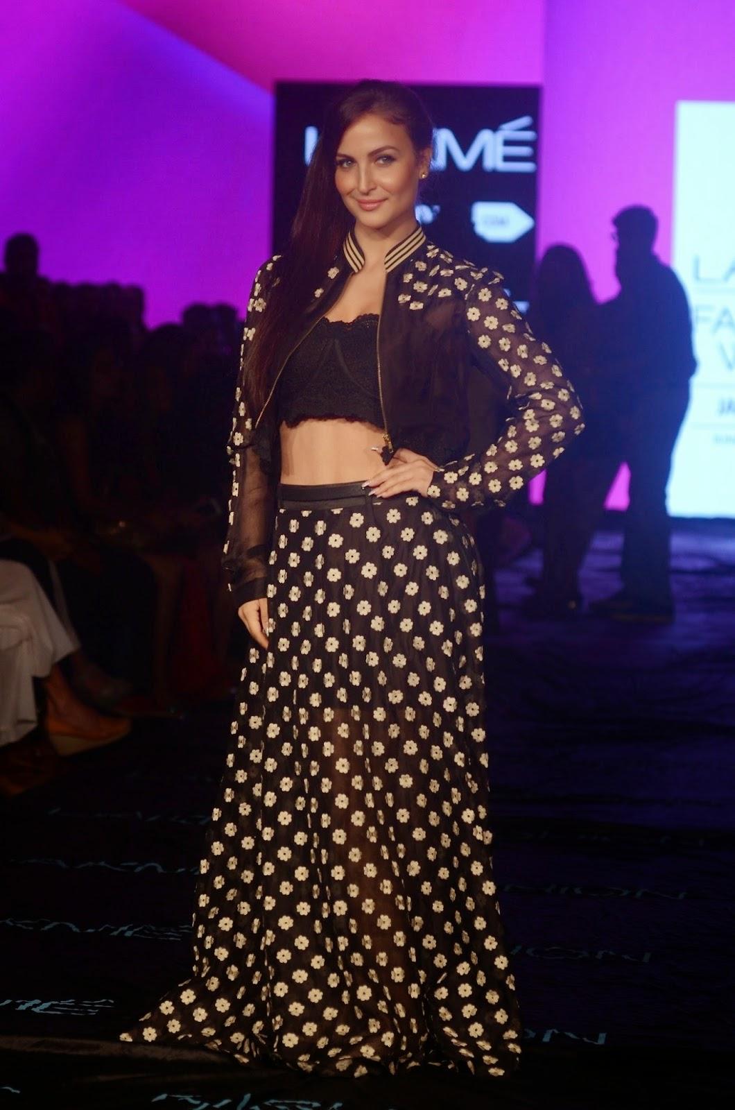 Elli Avram in Spicy Printed Black Dress at Lakme Fashion Week 2015