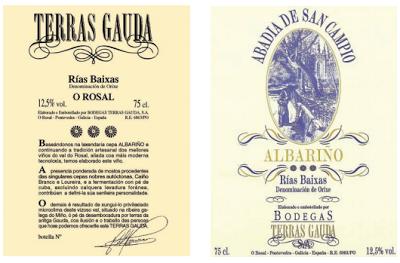 ETIQUETAS ALBARIÑOS TERRAS GAUDA Y ABADIA SAN CAMPIO