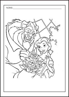 Princesas Disney - Desenhos para Colorir das Princesas Disney - A Bela e a Fera